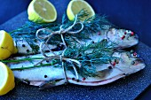 Trout with dill, pepper and lemons (ready to roast)