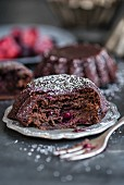 Gluten-free black bean cakes with red berries