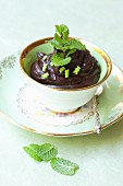Chocolate mousse with mint in a cup