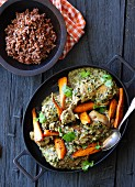 Chicken with almonds and root vegetables