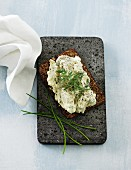Slice of wholemeal bread spread with tuna fish cream