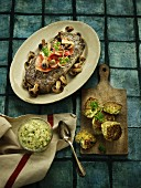 Beef fillet steak with mushrooms and side dishes