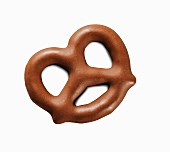 A mini chocolate pretzel (close-up)