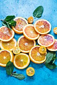 Various citrus fruit slices and fresh mint leaves