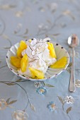 Creamy pineapple desert with fresh pineapple and grated coconut