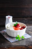 Semolina pudding with strawberries