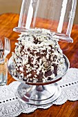 A 'Snow' Bundt cake on a cake with a glass cloche