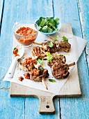 Lamb chops with mint and red papper chermoula