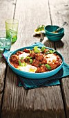 Moroccan lamb balls with poached egg