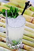 A Mojito (cocktail with rum, lime juice and mint)