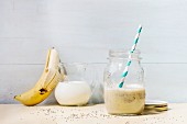 A banana smoothie with chia seeds