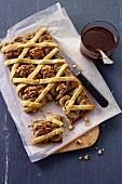 Banana and pecan nut lattice tart