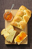 Bread plait with apricot jam