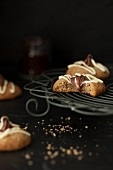 Espresso and hazelnut biscuits topped with chocolate spread