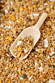 Granola muesli with dried mango pieces, coconut and vanilla
