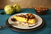 Cheesecake with almonds and quince sauce