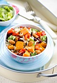 Roast sweet potato salad with rice and almonds