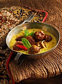 Indian lamb meatballs in a curry sauce