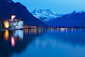 Lake Geneva with a view of Montreux and Chillon Castle, Switzerland