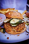Vegetable burger with courgettes