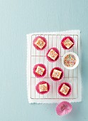 Lemon petit fours with colourful sugar sprinkles