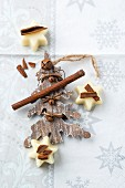 White chocolate proteins with cinnamon sticks (Christmas)