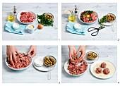 Putenfleischbällchen mit Oliven zubereiten