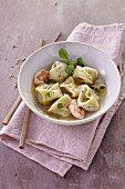 Tortellini soup with prawns (Thailand)