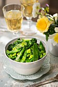 Mange tout with beans, peas and broccoli as a side dish for Easter