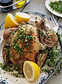 Chicken with lemons, thyme and chives