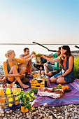 Two couples having a picnic by a lake in Schondorf, Ammersee, Bavaria, Germany