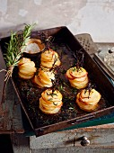 Roasted potato stacks with rosemary and salt