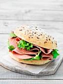 Liver sausage sandwich with lettuce