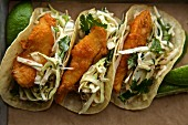 Tacos with fried chicken and jalapeño coleslaw (Mexico)