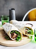 Lamb kofta wraps with parsley and onion salad