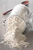 Flour in an overturned jar