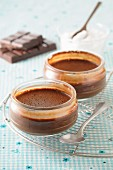 Chocolate cream in two glass bowls