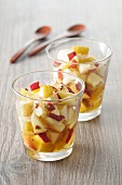 Apples and pears in caramel sauce