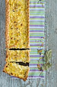 Shortcrust leek tart, sliced