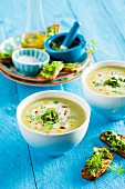 Courgette soup with chervil pesto
