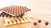 Various pralines ready to be filled