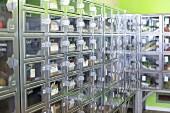 Food lockers in a self-service shop