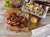 Pork ribs and a cabbage salad