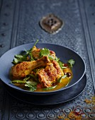 Chicken with salted lemon, saffron and ras el hanout (North Africa)