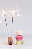 Macaroons with sparklers for New Year