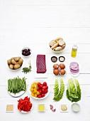 Ingredients for salad Niçoise