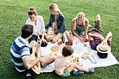 Sommer-Picknick im Park mit Familie und Freunden