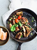 Fried aubergines with chilli and parsley
