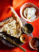 Unleavened bread with za'atar, yoghurt and olive oil