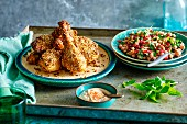 Moroccan chicken legs with a Harissa Dukkaund chickpea salad